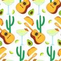 Cinco de Mayo. 5th of May. Guitarrone, cactus, taco, avocado, margarita - clipart to national mexican holiday seamless