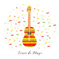 Cinco de Mayo. Vector illustration for greeting card. Multicolored guitar among confetti.