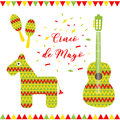 Cinco de Mayo. Vector illustration for greeting card. Multicolored guitar, donkey, maracas and inscription among