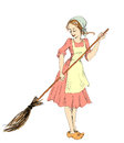 Cinderella with a broom sweeps half Stock Photos