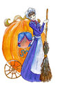 Cinderella with carriage watercolor of pumpkin carrage Stock Image