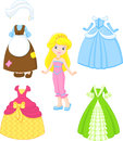 Cinderella dresses paper doll with clothes for princesses Royalty Free Stock Photo