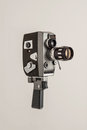 Cine camera a retro on a plain grey background Royalty Free Stock Photos