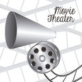 Cine icon illustration of of cinema film reel and principal speaker vector illustration Royalty Free Stock Photo
