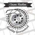 Cine icon illustration of of cinema film reel vector illustration Royalty Free Stock Image