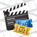 Cine icon illustration of slate of director film and tiquets vector illustration Stock Images