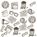 Cine icons illustration of icon of cinema d cinema glasses director slate popcorn tickets and film reel vector illustration Stock Photo
