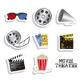 Cine icons illustration of icon of cinema d cinema glasses director slate popcorn tickets and film reel vector illustration Stock Photos