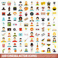 100 cinema actor icons set, flat style