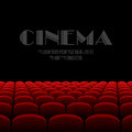 Cinema auditorium with black screen and red seats illustration Stock Images