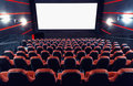 Cinema auditorium empty with screen and seats Stock Photo