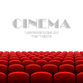 Cinema auditorium with white screen and red seats illustration Royalty Free Stock Images