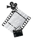 Cinema background illustration with a camera and filmstrip Royalty Free Stock Image