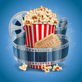 Cinema background popcorn bowl film strip and ticket attributes detailed vector illustration Stock Images