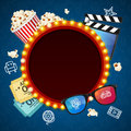 Cinema Background witch Light Bulbs Vintage Neon Glow Frame. Vector