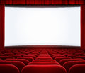 Cinema big screen with red curtain and seats frame Stock Photo