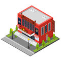 Cinema Building Isometric View. Vector