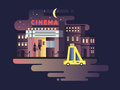 Cinema building night Royalty Free Stock Photo