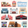 Cinema building vector set. Royalty Free Stock Photo
