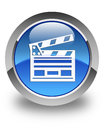 Cinema clip icon glossy blue round button Royalty Free Stock Photo