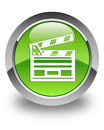 Cinema clip icon glossy green round button Royalty Free Stock Photo