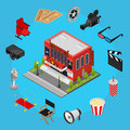 Cinema Concept Isometric View. Vector