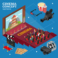 Cinema Concept Movie Interior Auditorium Isometric View. Vector