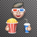 Cinema 3D Glasses Big Popcorn Soda Water Male Guy Man Boy Character Realistic Cartoon Flat Design Vector illustration