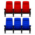 Cinema empty comfortable chairs. Realistic movie seats vector illustration Royalty Free Stock Photo