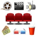 Cinema entertainment decorative icons set of film movie tickets and theatre chairs design elements isolated vector illustration Stock Image