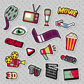 Cinema Film Television Patches, Badges, Stickers set with Camera, TV, Tape