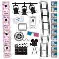 Cinema film and tickets assorted ticket icons Royalty Free Stock Photography