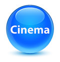 Cinema glassy cyan blue round button