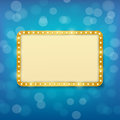 Cinema golden frame with light bulbs on  blue background Royalty Free Stock Photo