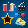 Cinema Icon Realistic Objects Set. Vector