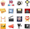 Cinema icons big set detailed Stock Photos