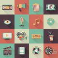 Cinema icons set of flat with shades Royalty Free Stock Photo