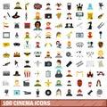 100 cinema icons set, flat style