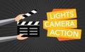 Cinema lights camera action flat vector Royalty Free Stock Photo