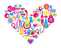 Cinema love heart with many vector icons music and movie shape isolated Stock Photo
