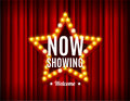 Cinema Movie Concept Light Bulbs Vintage Neon Glow Star Shape on a Red Curtains. Royalty Free Stock Photo