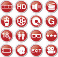Cinema movie icon set red Stock Photography