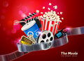 Cinema movie theater object on sparkling light background