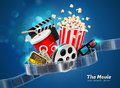 Cinema movie theater object on sparkling light background Royalty Free Stock Photo