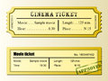 Cinema movie ticket yellow tickets with stamp Royalty Free Stock Photo