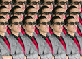 Cinema in new 3D glasses with boy spectator Royalty Free Stock Photo