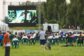 Cinema open air in herastrau park from bucharest romania Stock Photo