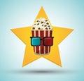 Cinema pop corn bucket 3d glasses star background