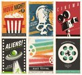 Cinema posters collection with different movie and film genres and themes
