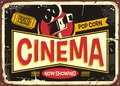 Cinema retro tin sign vector design